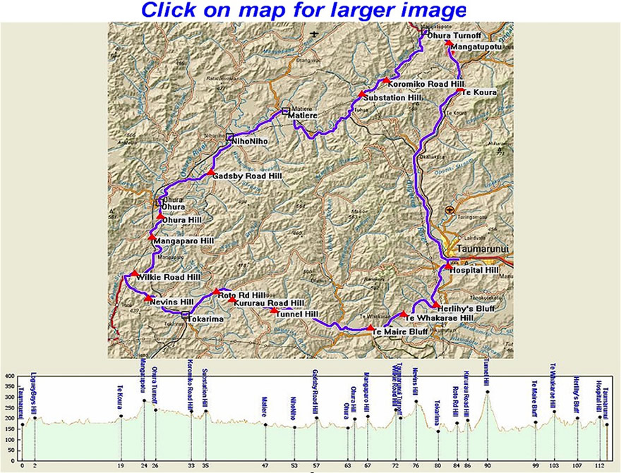 Taumarunui Cycle Classic Map & Elevation